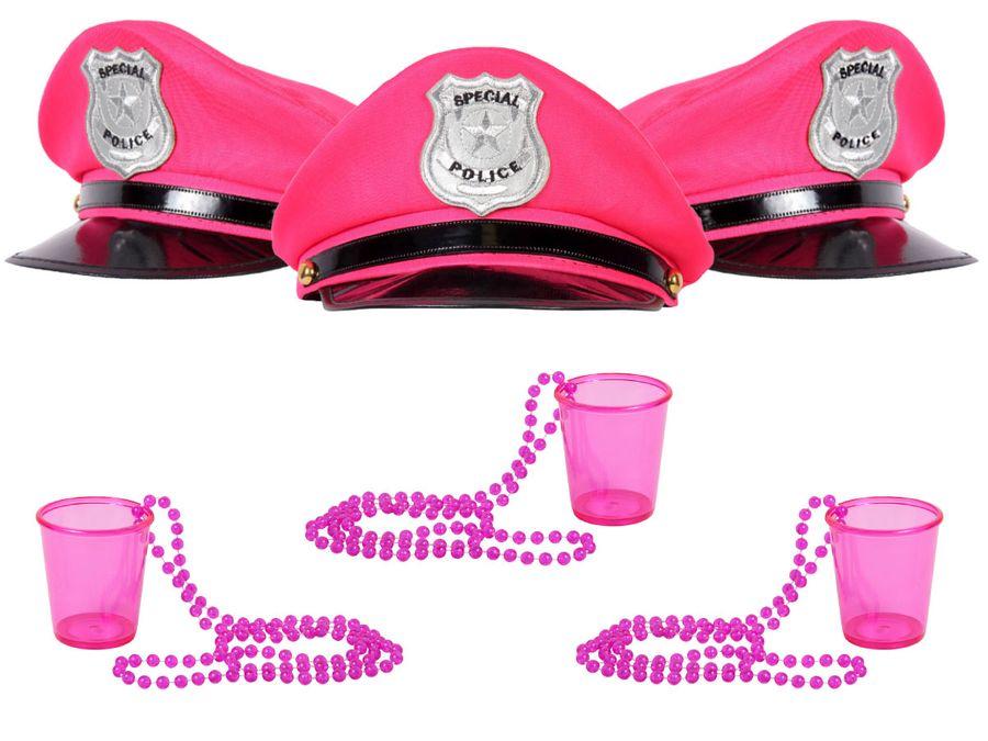 Alsino Damen JGA Paryty Set Polizeimützen One Size für Erwachsene mit Pinnchen Shotgläser und Ketten in Pink