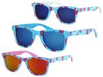 Viper Sunglasses | V-1418 | Men | Women | Adults | Frame | Printed Ice Lollies | Mirrored Squared Lenses | Modern | Casual | Funny