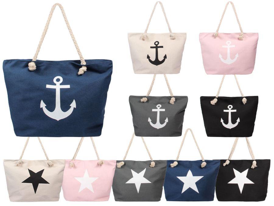 Alsino Damen Shopper Beach Bag Einkaufstasche Strandtasche - Größe: ca. 55 x 38 cm - Maritim mit Reißverschluss und Henkel