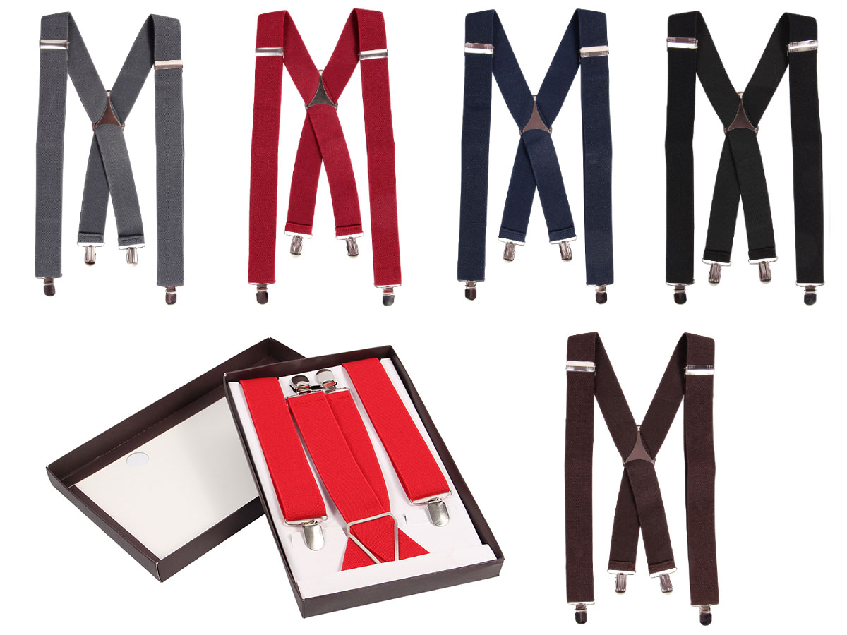 Braces for Men | Suspenders | Adjustable | Elastic | X-shaped | with 4 Clips | Restistent and Elegant | Unisex | Woman | from Alsino
