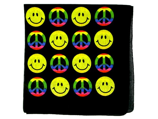 Bandana schwarz Smilie/Peace Zandana 100% Cotton 135