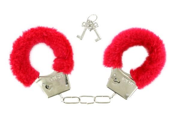 Kuschel Handschellen Hand-Cuffs rot Plüsch 03