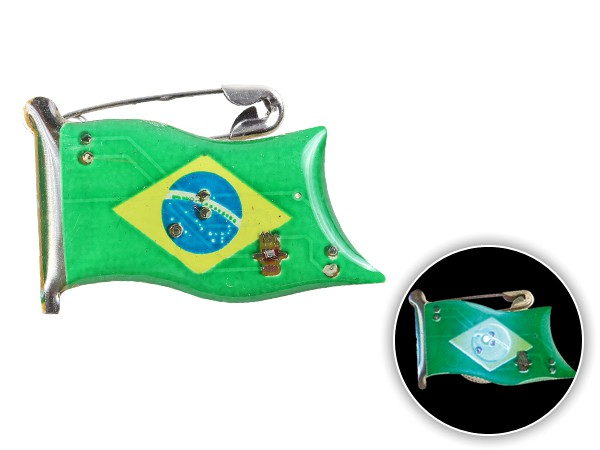 Blinki Anstecker Blinky Brosche Pin Button Brasilien Flagge 107