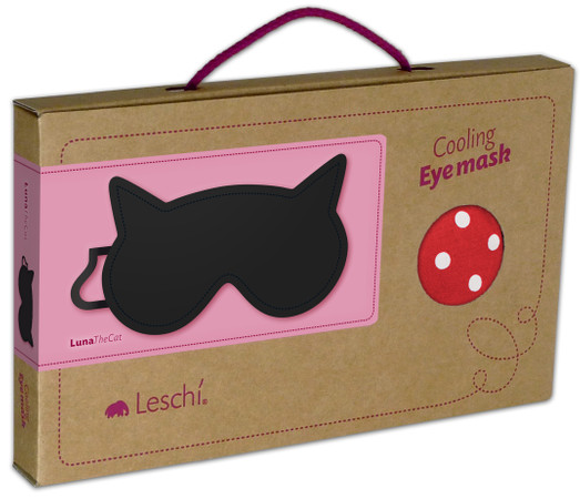 Eye mask | Luna the cat Colour: Polka dot red / Midnight – Bild 3