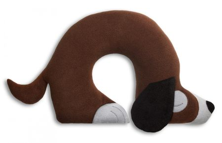 Travel pillow | Charlie the dog | Chocolate / Midnight