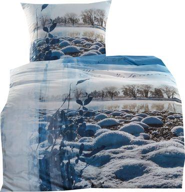 Kaeppel Mako Satin Digitaldruck Bettwäsche Into the blue Größe 155x220+80x80 cm Farbe Hellblau