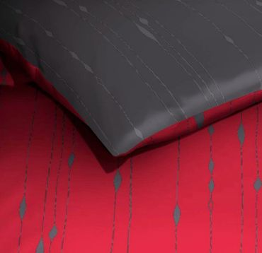 Kaeppel Mako Satin Bettwäsche Essential Cocoon Größe 155x220+80x80 cm Farbe Rubin – Bild 2