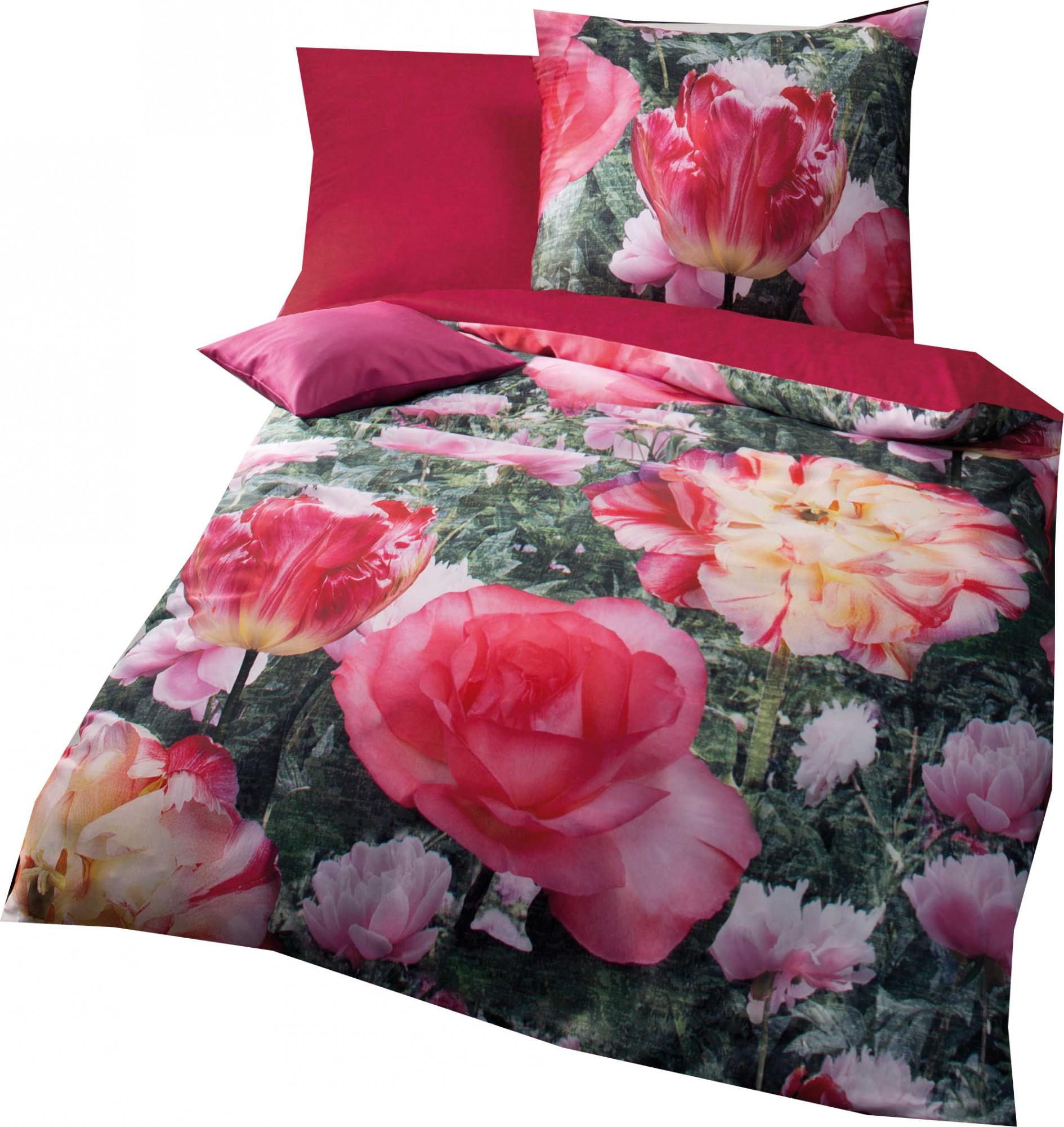kaeppel mako satin digitaldruck bettw sche wild garden gr e 155x220 80x80 cm farbe pink. Black Bedroom Furniture Sets. Home Design Ideas