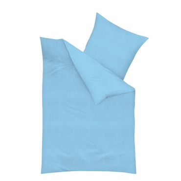 Kaeppel Baumwolle Seersucker Bettwäsche Uni Größe 135x200+80x80 cm Farbe Türkis