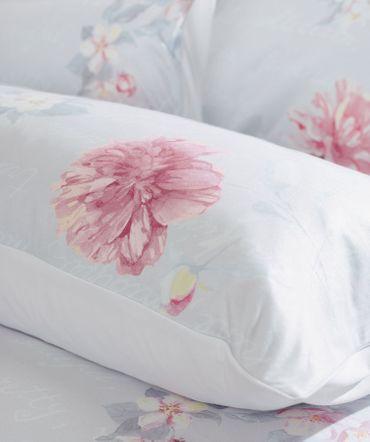Curt Bauer Mako Satin Kissenbezug Allegra  Farbe Grau Rosa – Bild 2