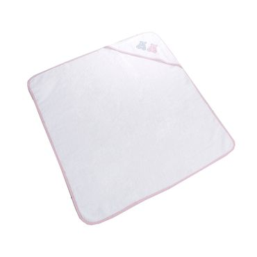 Ross Baby Kinder Kapuzen-Badetuch Bärli Größe 90x90 cm Farbe Weiß Rosa