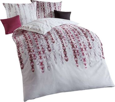 Kaeppel Feinbiber Bettwäsche Pearls Größe 155x220+80x80 cm Farbe Burgund – Bild 1