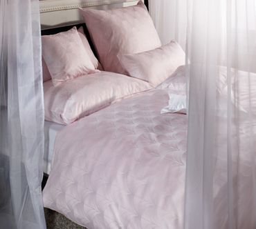 Curt Bauer Mako Brokat Damast Bettwäsche Toulouse Größe 155x200+80x80 cm Farbe Rose – Bild 1