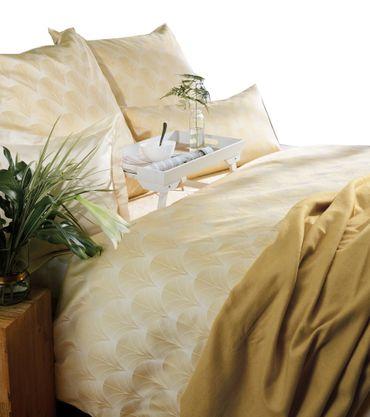 Curt Bauer Mako Brokat Damast Bettwäsche Toulouse Größe 240x220+2x80x80 cm Farbe Gelb – Bild 1
