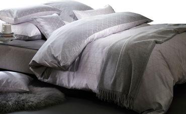 Curt Bauer Mako Brokat Damast Bettwäsche Jove Größe 200x200+2x80x80 cm Farbe Perlgrau – Bild 1