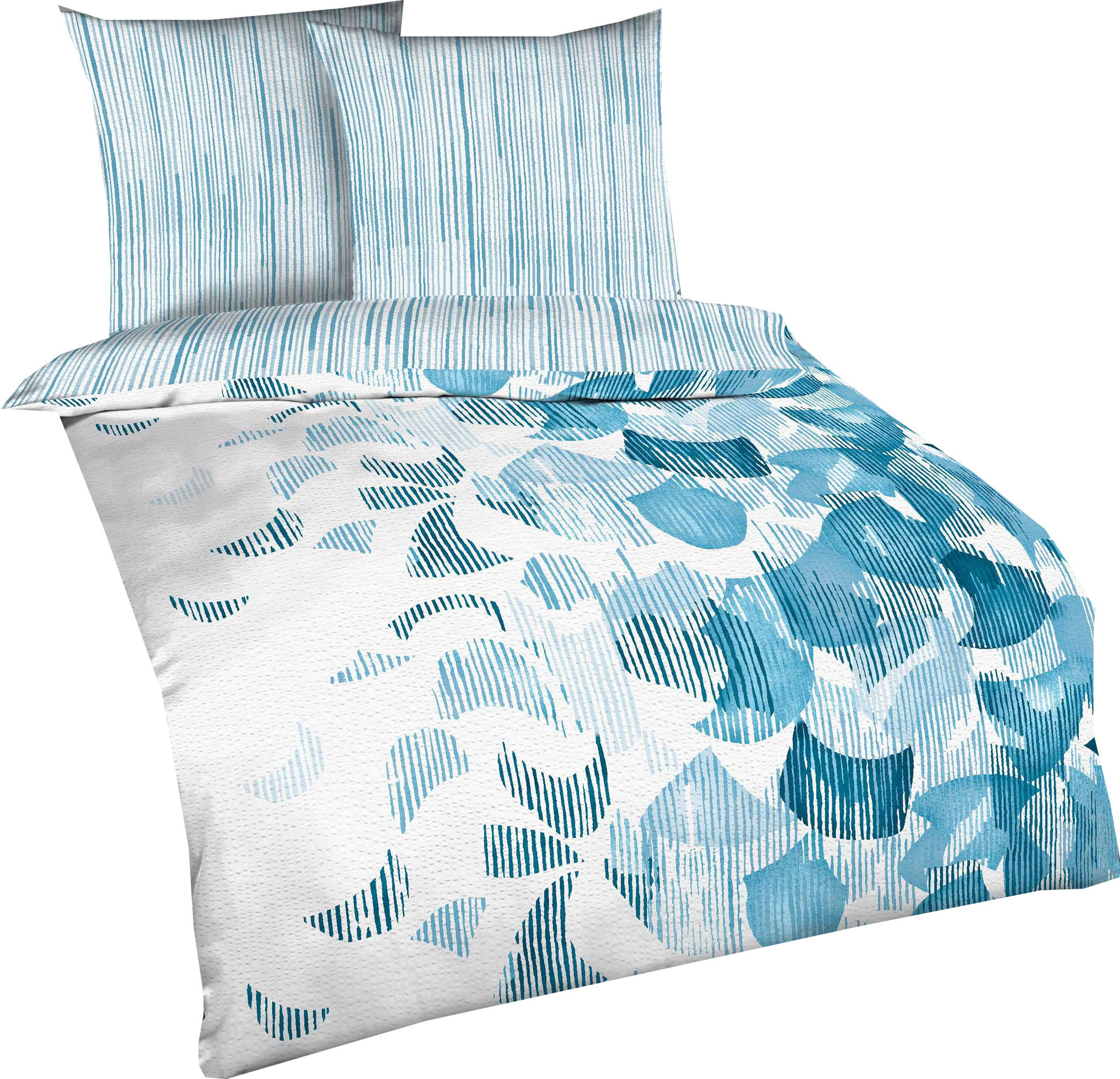 kaeppel baumwolle seersucker bettw sche calvino gr e 135x200 80x80 cm farbe azur bettw sche. Black Bedroom Furniture Sets. Home Design Ideas