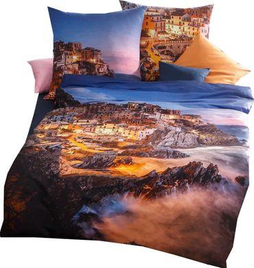Kaeppel Mako Satin Digitaldruck Bettwäsche Cinque Terre Größe 135x200+80x80 cm Farbe Blau