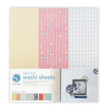 Adhesive Washi Paper (3 sheets, 9 patterns, 12 x 12inches)