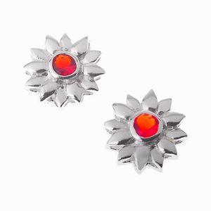 Kinder Ohrstecker: Blumen Silber Kinderschmuck mit Kristall