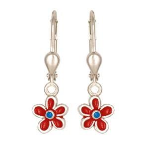 Mädchen Ohrringe Silber: Ohrhänger Blume rot