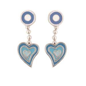 Kinder Ohrringe: Silber Ohrstecker Herz blau