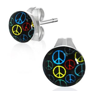 "Cabochon Ohrstecker rund: Edelstahl Dots ""Peace"""
