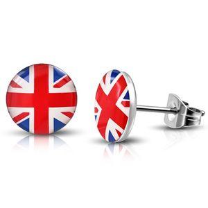 "Cabochon Ohrstecker rund: Edelstahl Dots ""England Flagge"""