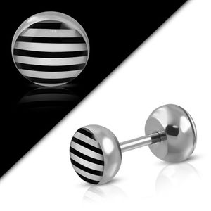 "Fake Plug ""Stripes"" Helix Piercing Ohrstecker"