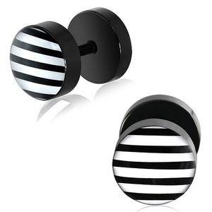 "Fake Plugs ""Stripes"" schwarz-weiß"