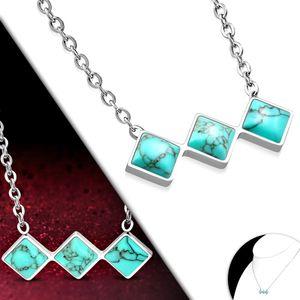 Kette mit Türkis Anhänger: Damen Edelstahl Halskette  – Bild 2