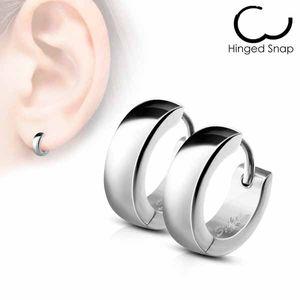 Damen und Herren Edelstahl Klapp-Creolen Ohrringe – Bild 6