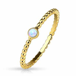 Opal Ring gold: Stapelring / Midi Ring geflochten
