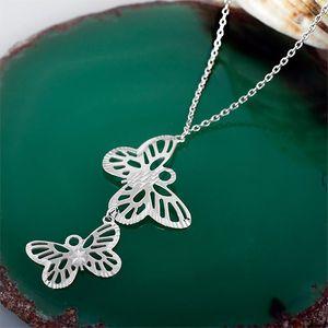 Y Kette mit Anhänger: Silber Collier Schmetterlinge