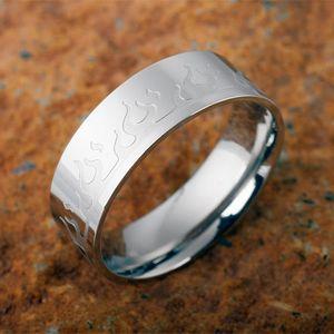 Edelstahl Ring mit Flammen