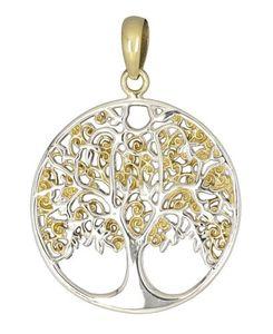 Lebensbaum / Wunschbaum Anhänger: Bronze Amulett versilbert