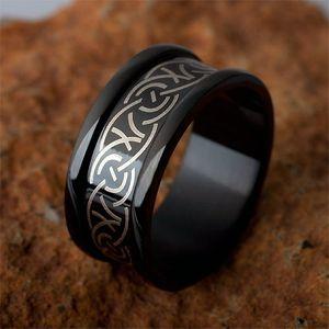 Stahl Ring: Edelstahlring schwarz mit Tribal