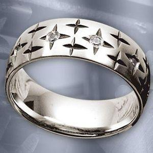 Edelstahl Ring: Stern Bandring Brilliant Stars