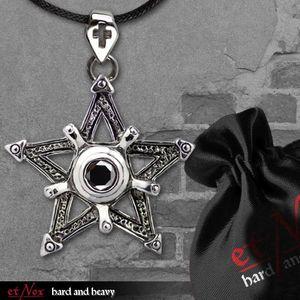 Pentagramm Amulett: Gothic Edelstahl Anhänger mit Band