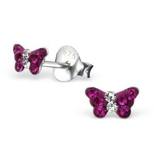Kinder Ohrstecker Silber Ohrringe Schmetterling mit Zirkonia