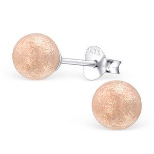 "Runde Ohrstecker ""Kugel"": Perlenohrringe aus 925 Silber – Bild 5"