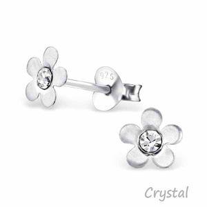 "Kinderohrstecker: Mädchen Ohrringe Silber ""Kristall Blume"" – Bild 6"