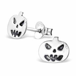 Halloween Schmuck: Silber Ohrringe / Kinderohrringe Kürbis, Fledermaus, Spinnennetz – Bild 2