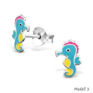 Seepferdchen Schmuck aus 925er Silber: Kinder Ohrstecker und Halskette – Bild 2
