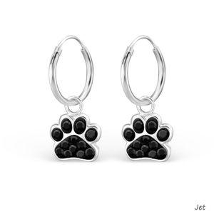 "Hundepfoten Schmuck: Creolen Ohrringe ""Kristall Pfote"" Silber 925 – Bild 6"