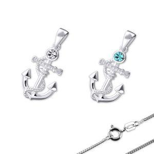 Kette Silber Anker Kristall Anhänger mit Halskette