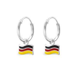 WM Creolen: Flaggen Ohrringe Silber Fahne Fanartikel Schmuck Deutschland Frankreich – Bild 2