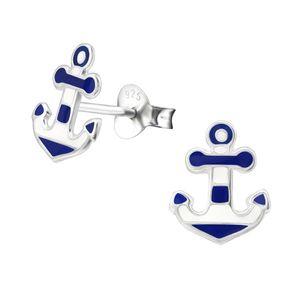 Silber Ohrstecker Anker blau-weiß