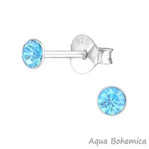 Silber Ohrstecker Kristall rund 3 mm – Bild 2