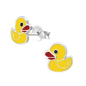 "Kinderohrstecker: Mädchen Ohrringe Silber ""gelbe Ente"""