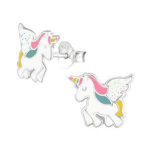"""Kinderohrstecker: Mädchen Ohrringe Silber """"Pegasus Einhorn mit Glitzer"""""""